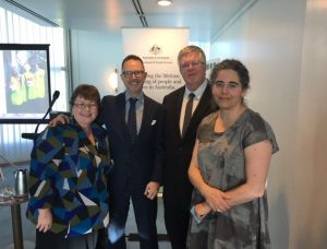 Some of the project's research team at the launch L-R Wendy Scaife, Wayne Burns, Myles McGregor-Lowndes and Jo Barraket